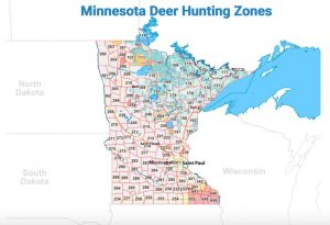 Detailed Map of deer hunting zones in Minnesota