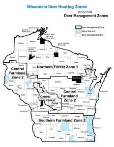 Map Showing best places to deer hunt in Wisconsin